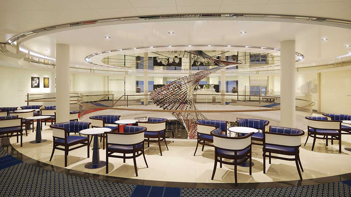 The atrium on Holland America Line's Rotterdam, set for delivery on July 30, 2021.