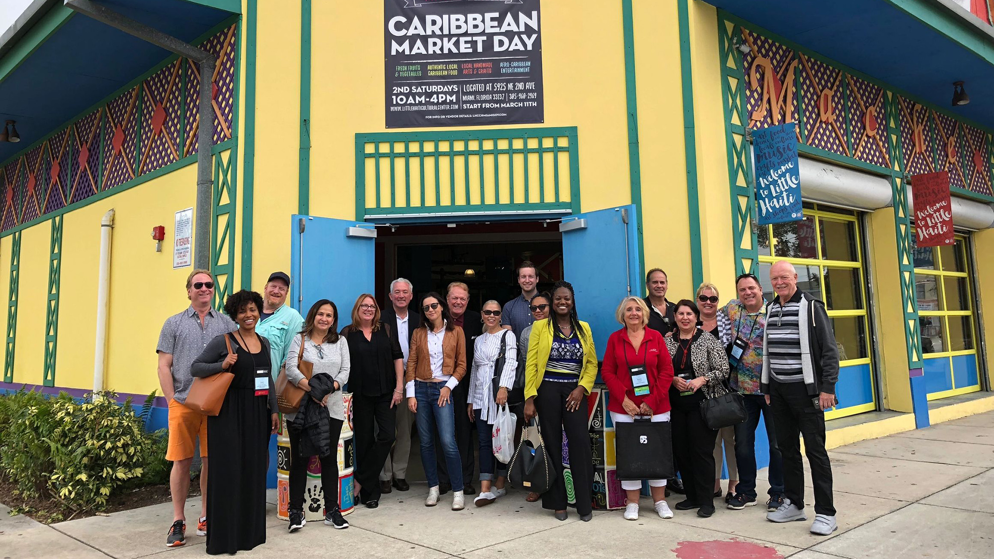 A group of Black Cultural Heritage Tour participants at the Caribbean Marketplace in the Little Haiti neighborhood of Miami.