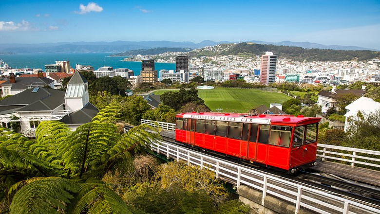 The Wellington Cable Car in Wellington, New Zealand.