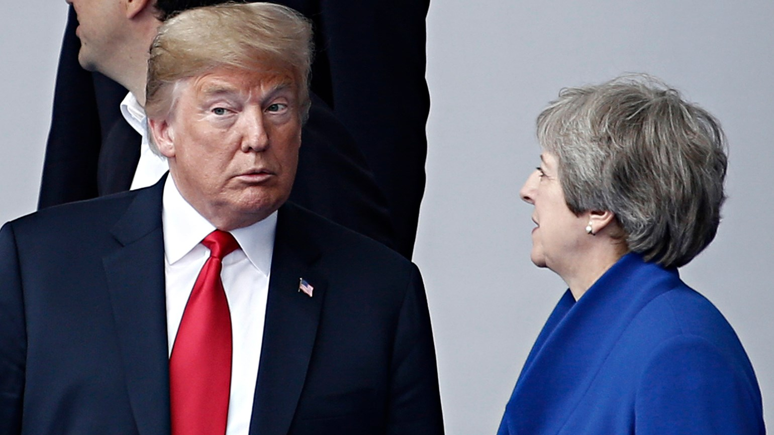 Trump and Theresa May, NATO Summit