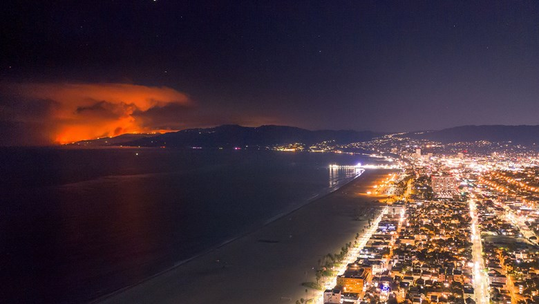 Earlier this month, the Woolsey fire lit up the night along the Venice Beach coastline.