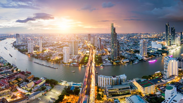 Thailand hotel occupancy is down 24% in recent weeks. Pictured, the Bangkok skyline.