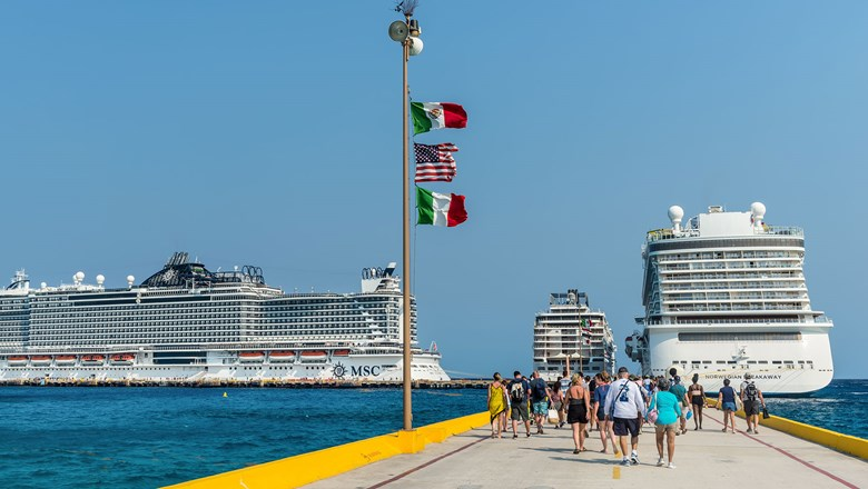 Cruise ships in Costa Maya, Mexico.