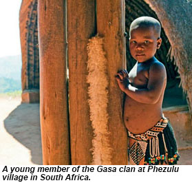 A young member of the Gasa clan at Phezulu village in South Africa.