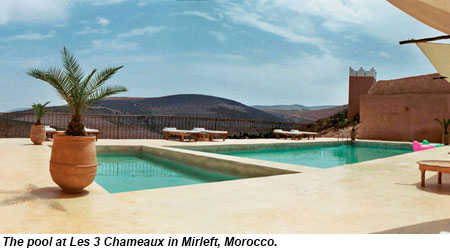 The pool at Les 3 Chameaux in Mirleft, Morocco.