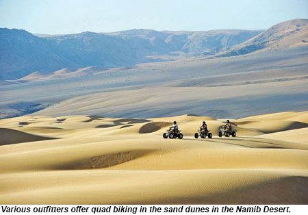 Various outfitters offer quad biking in the Namib Desert.