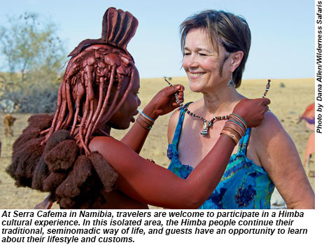 A Serra Cafema in Namibia, travelers are welcome to participate in a Himba cultural experience.