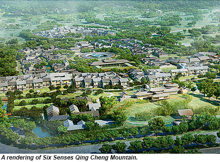 A rendering of Six Senses Qing Cheng Mountain.