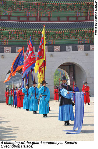A changing-of-the-guard ceremony at Gyeongbok Palace.