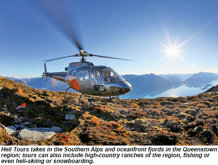 Heli Tours takes in the Southern Alps and oceanfront fjords in the Queenstown region.