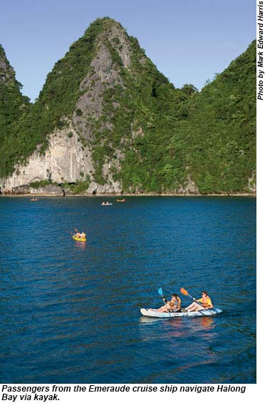 Kayaking in Halong Bay.