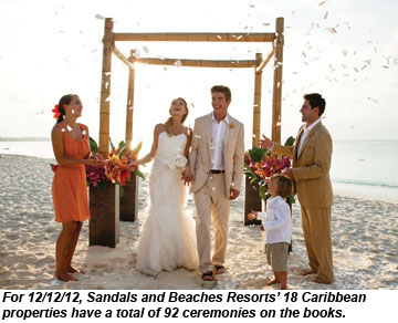 Couples eye auspicious date for caribbean weddings travel weekly sandals wedding junglespirit Image collections