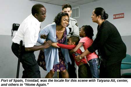 Port of Spain, Trinidad, was the locate for this scene with Tatyana Ali, center, and others in Home Again.