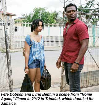Fefe Dobson and Lyriq Bent in a scene from Home Again, filmed in 2012 in Trinidad, which doubled for Jamaica.