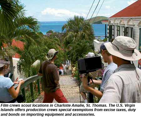 Film crews scout locations in Charlotte Amalie, St. Thomas, U.S. Virgin Islands.