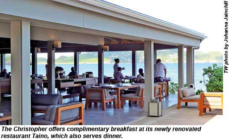 Hotel Christopher offers complimentary breakfast at its newly renovated Taino restaurant, which also serves dinner.