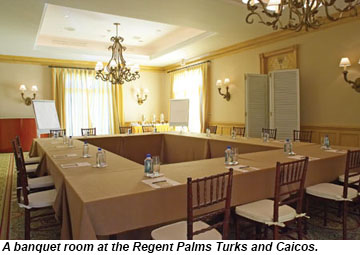 A banquet room at Regent Palms Turks and Caicos.