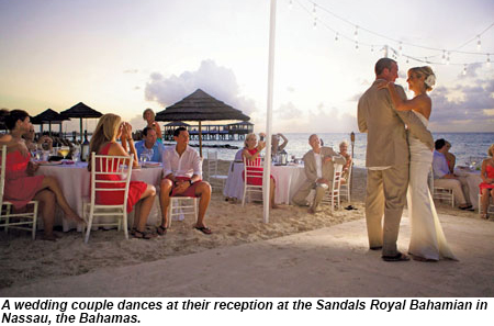 Wedding reception at Sandals Royal Bahamian, Nassau.