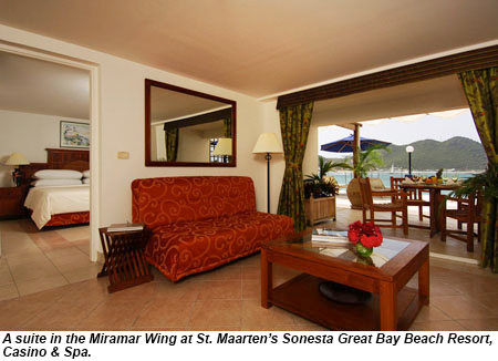 A suite in the Miramar Wing at the Sonesta Great Bay.