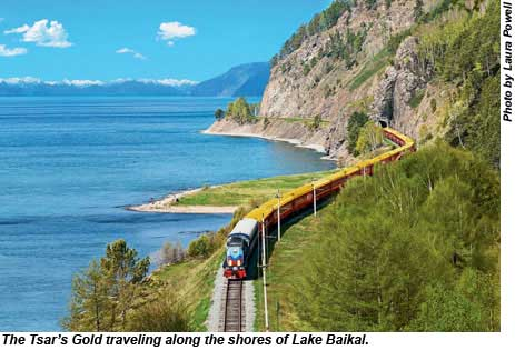 The Tsars Gold traveling along the shores of Lake Baikal.