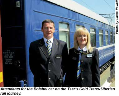 Attendants for the Bolshoi car on the Tsars Gold Trans-Siberian rail journey.