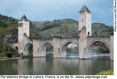 The Valentre Bridge in Cahors, France.