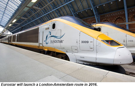 Eurostar will launch a London-Amsterdam route in 2016.