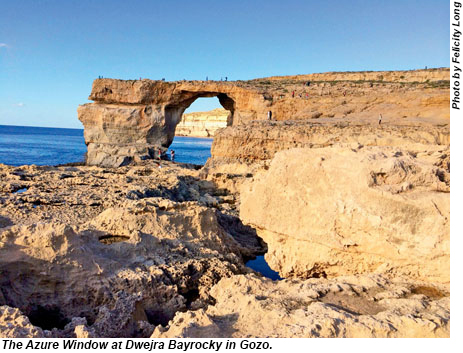 The Azure Window at Dwejra Bayrocky in Gozo, Malta.
