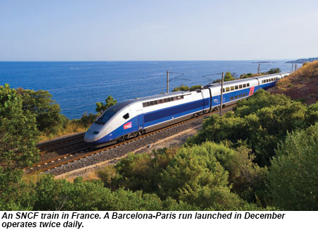 An SNCF train in France. A Paris-Barcelona run launched in December operates twice daily.