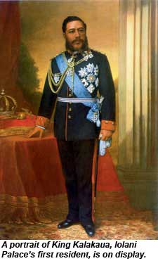 A portrait of King Kalakaua is on display at Iolani Palace.