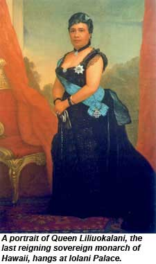 A portrait of Queen Liliuokalani hangs at Iolani Palace.