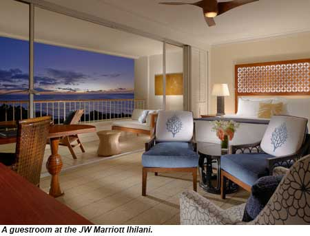 A guestroom at the JW Marriott Ihilani.