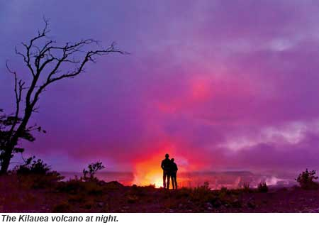 Kilauea Volcano at night
