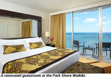 A renovated guestroom at the Park Shore Waikiki.