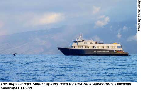 The 36-passenger Safari Explorer used for Un-Cruise Adventures Hawaiian Seascapes sailing.