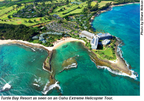 Turtle Bay Resort as seen on an Oahu Extreme Helicopter Tour.