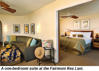 A one-bedroom suite at the Fairmont Kea Lani