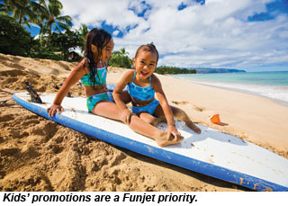 Kids on a surfboard in Hawaii