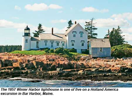 The 1857 Winter Harbor lighthouse is one of five on a Holland America Line excursion in Bar Harbor, Maine.