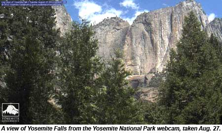 A view of Yosemite Falls from the Yosemite National Park webcam.