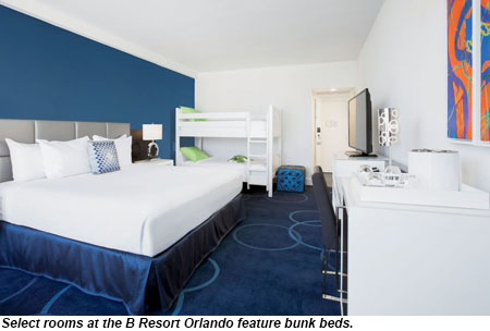B Resort Orlando guestroom with bunk beds.