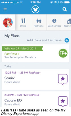 Fast pass time slots