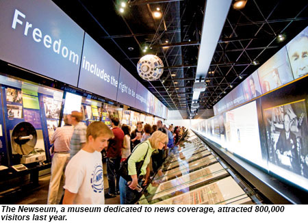 The Newseum attracted 800,000 visitors in 2013.