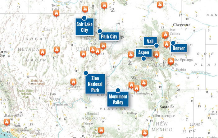 Colorado lists tourismrelated fire updates on webpage Travel Weekly – Tourist Map Of Colorado