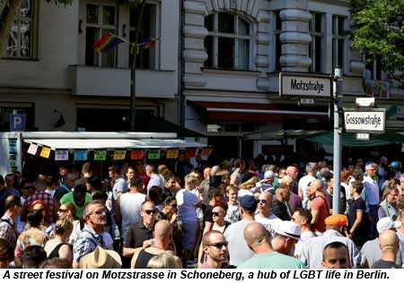 A street festival on Motzstrasse in Schoneberg, a hub of LGBT life in Berlin.