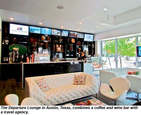 The Departure Lounge in Austin, Texas, combines a coffee and wine bar with a travel agency.