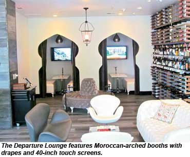 The Departure Lounge features Moroccan-arched booths with drapes and 40-inch touch screens.