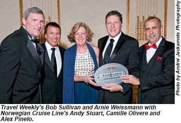 Bob and Arnie with Norwegian Cruise Lines executives.
