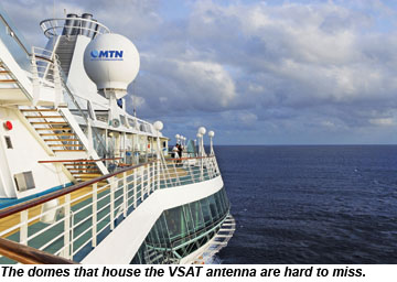 VSAT antenna on cruise ship