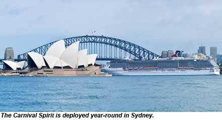 The Carnival Spirit is deployed year-round in Sydney.